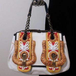 Fendi B Bag Beaded Raffia & Patent Leather Trim
